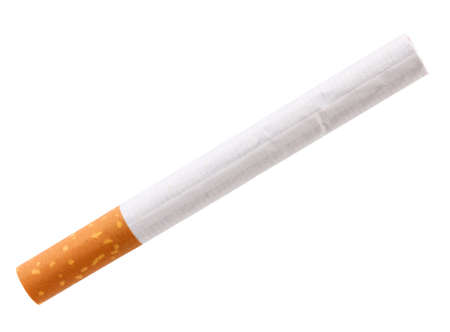 Single cigarette with filter. Close-up. Isolated on white background. Studio photography. photo