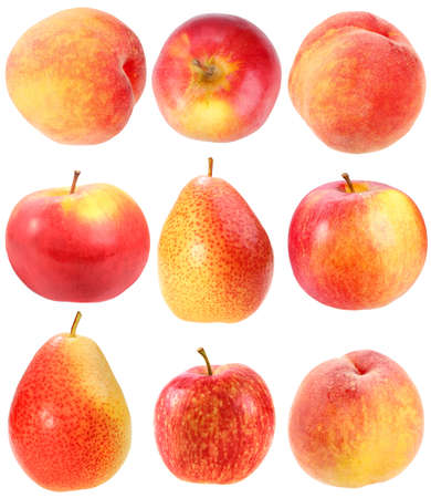Abstract set of fresh red fruits for your design. Close-up. Isolated on white background. Studio photography. Stock Photo - 12376487