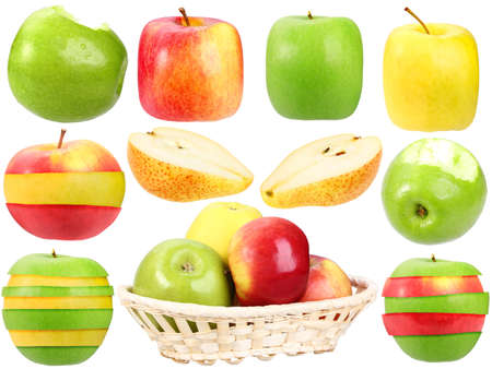 Abstract set of fresh strange fruits for your design. Close-up. Isolated on white background. Studio photography. Stock Photo - 12376485