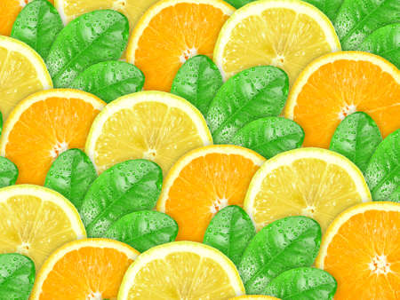 Abstract background with citrus-fruit of orange, lemon slices and green leaf with dew for your design. Close-up. Studio photography. Stock Photo - 12376459