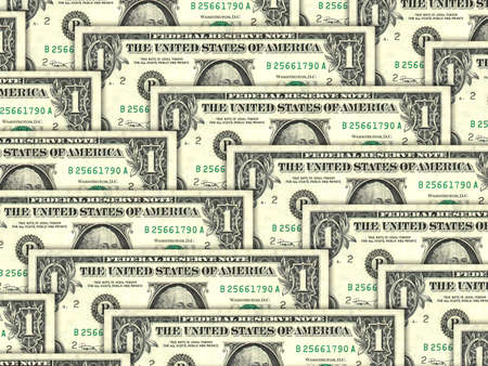 one dollar bill: Abstract background of money pile 1 USA dollars bills for your design. Studio photography.