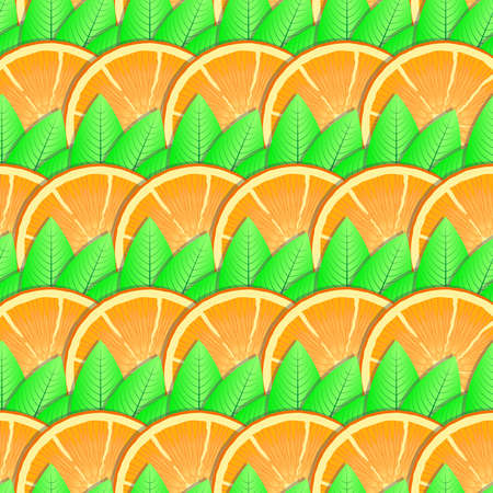 Abstract background with citrus-fruit of orange slices and green leaf for your design. Seamless pattern. Vector illustration. Vector