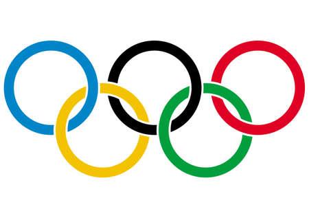 올림픽 반지 - 흰색 배경에 벡터 일러스트 레이 션에 고립 올림픽의 상징 에디토리얼