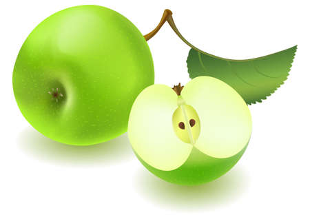 green apple slice: Fresh green apple and slice with green leaf on white background