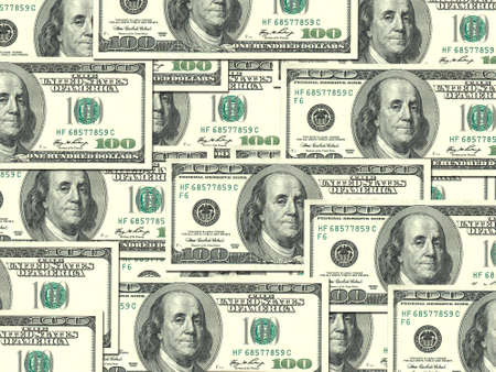 Abstract background of money pile 100 USA dollars bills for your design. Studio photography. photo