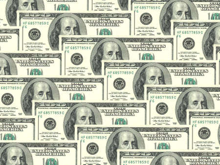one dollar bill: Abstract background of money pile 100 USA dollars bills for your design. Studio photography. Stock Photo