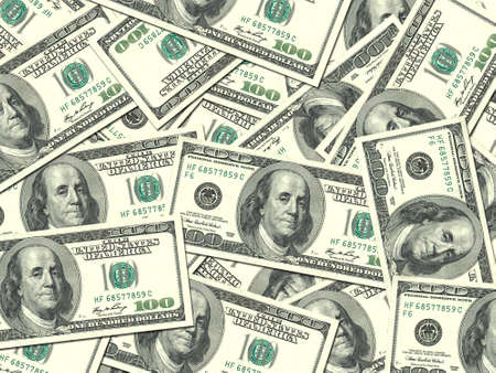 money market: Abstract background of money pile 100 USA dollars bills for your design. Studio photography. Stock Photo