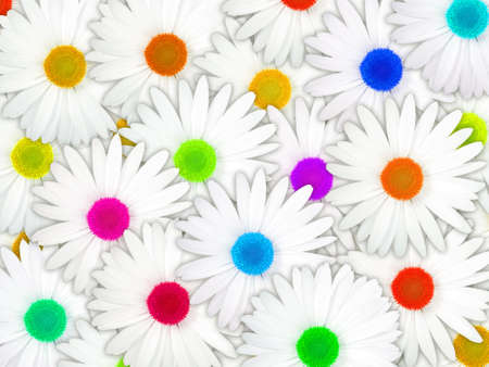 Abstract background of white flowers with motley center for your design. Close-up. Studio photography. Stock Photo - 13451223