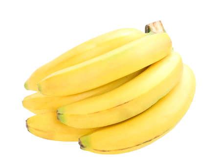Big group of yellow fresh bananas. Close-up. Isolated on white background. photo