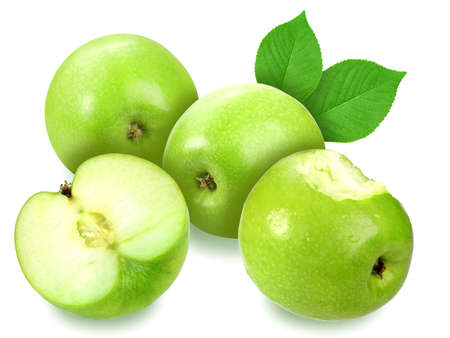 Heap of fresh four apples with green leaf. Placed on white background. Close-up. Stock Photo - 13504685