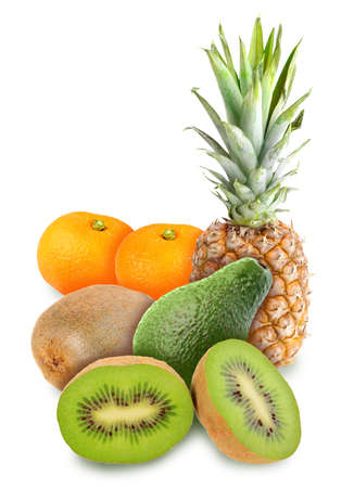 Heap of fresh tropical fruits. Placed on white background. Close-up. Studio photography. photo