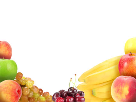 Background with heap of fresh motley fruits. Placed on white. Close-up. Studio photography. photo