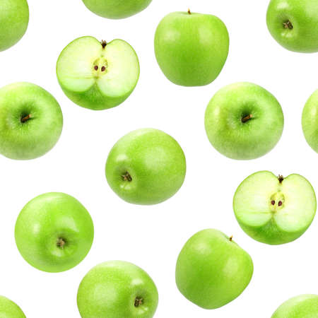 Abstract background with green fresh apples. Isolated on white. Seamless pattern for your design. Close-up. Studio photography. photo