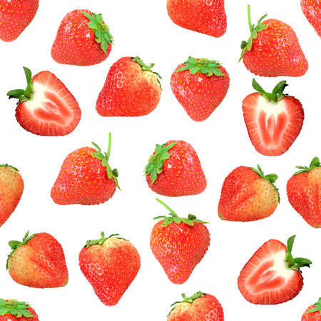 Abstract background with red fresh strawberryes. Isolated on white. Seamless pattern for your design. Close-up. Studio photography. photo