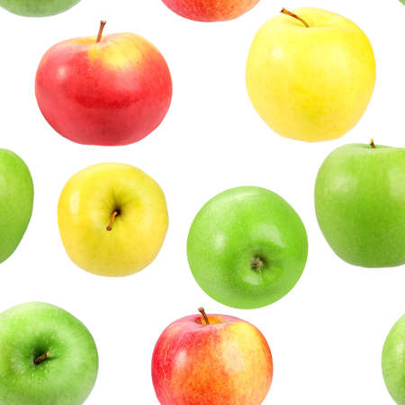 Abstract background with motley fresh apples. Isolated on white. Seamless pattern for your design. Close-up. Studio photography. Stock Photo - 13659086
