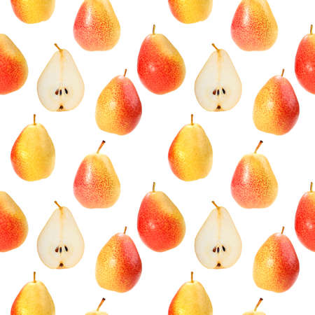 Abstract background with orange fresh pears. Isolated on white. Seamless pattern for your design. Close-up. Studio photography. photo