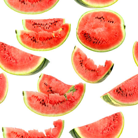 Abstract background with red fresh slices of watermelon. Isolated on white. Seamless pattern for your design. Close-up. Studio photography. photo