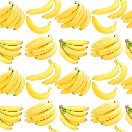 Abstract background with yellow fresh bananas. Isolated on white. Seamless pattern for your design. Close-up. Studio photography. photo