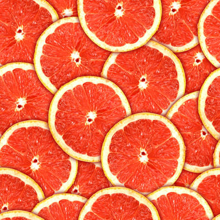 grapefruit: Abstract background of heap fresh red grapefruit slices. Seamless pattern for your design Stock Photo