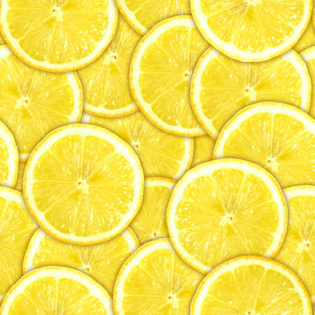 Abstract background of heap fresh yellow lemon slices. Seamless pattern for your design