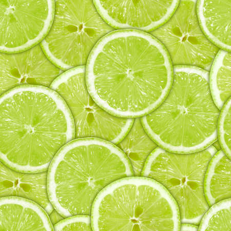 Abstract background of heap fresh green lime slices. Seamless pattern for your design Stock Photo