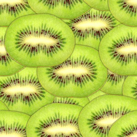 Abstract background with slices of fresh ripe green kiwi. Seamless pattern for your design. Close-up. Stock Photo - 13688404