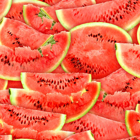 Abstract background with slices of fresh ripe red watermelons. Seamless pattern for your design. Close-up.  Stock Photo