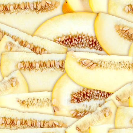 Abstract background with slices of fresh ripe yellow melons. Seamless pattern for your design. Close-up. Stock Photo - 13688393