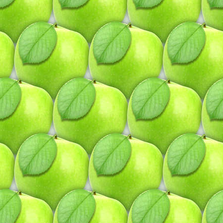 Abstract background of fresh green apples with leaf. Seamless pattern for your design photo