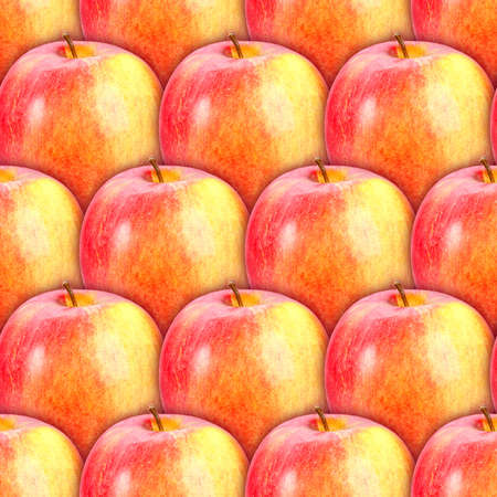 Abstract background of fresh red-yellow apples. Seamless pattern for your design photo