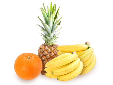 Heap of fresh tropical fruits  Placed on white background Stock Photo - 13767319