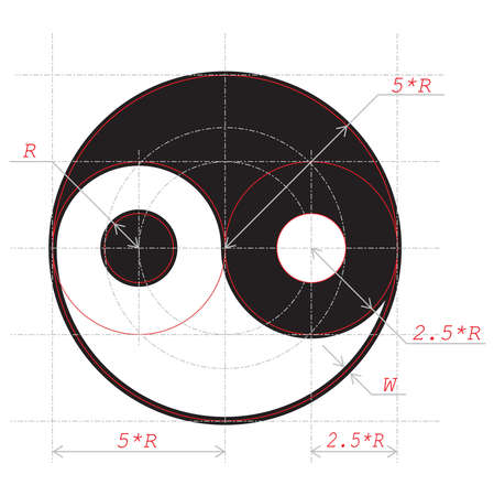 Scheme for drawing of Yin and Yang abstract symbol Ilustracja