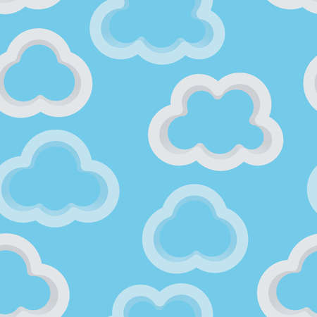 Abstract light blue sky background with 3d clouds. Seamless pattern for your design.  Vector