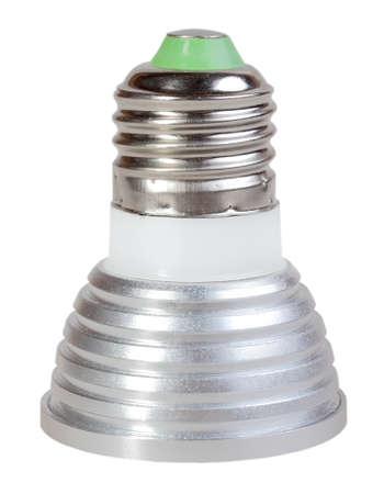 e27: One energy saving LED cone lamp isolated on white background. Studio photography.