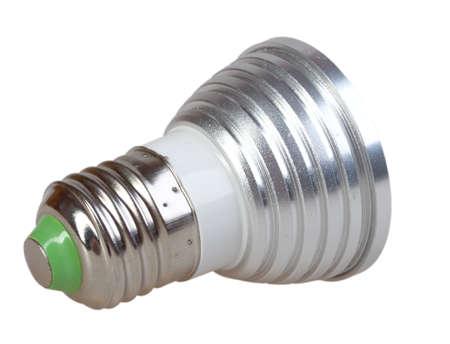 e27: Energy-saving LED lamp isolated on white background. Back view. Studio photography.