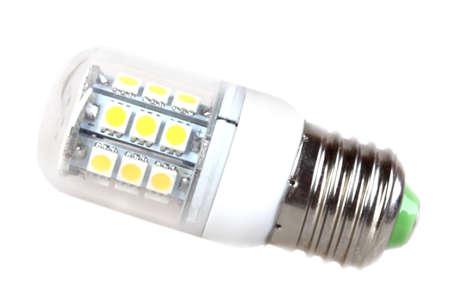 e27: Energy-saving LED mini-lamp isolated on white background. Studio photography.