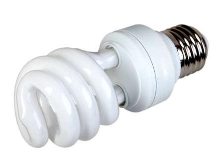 e27: Single energy-saving fluorescent lamp isolated on white background. Studio photography.