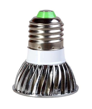 Mirror energy-saving LED lamp isolated on white background. Studio photography. Stock Photo - 18626395