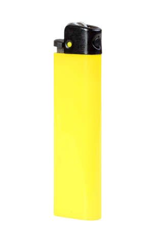 Single yellow classic lighter. Isolated on white background. Studio photography. photo