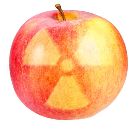 irradiated: Red apple with sign of nuclear danger. Art design. Isolated on white background.  Stock Photo