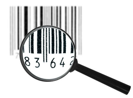 Preview of-focus black grunge bar-code symbol through magnifier lens. Art design. Isolated on white background. photo