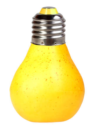 Orange pear as bulb-form lamp. Isolated on white background. Art design. Studio photography. photo