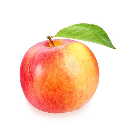 Full red apple with one green leaf on white background. Close-up. Studio photography. photo