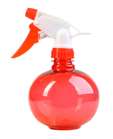 Ball-form a red sprayer for spraying water on houseplants. Isolated on white background photo