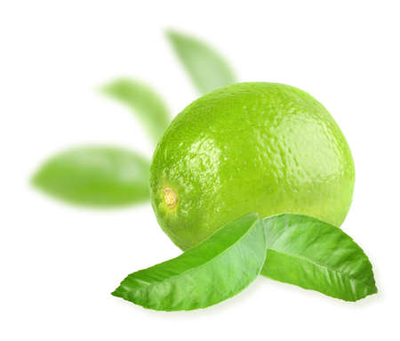 Full fresh lime and a some green leaves photo