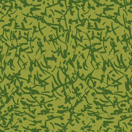 Two-colour seamless pattern of green camouflage with spots. Abstract background. Vector