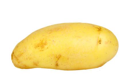 spud: Single yellow raw potato. Isolated on white background. Close-up. Studio photography.