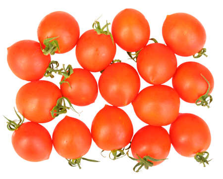 Group of ripe red tomatos. Isolated on white background. Close-up. Studio photography. photo