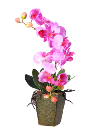 flowerpots: Single artificial branch flowers of pink orchid in flowerpot. Isolated on white background. Close-up. Studio photography.