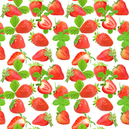 Abstract seamless pattern with red strawberries and green leafs isolated on white background. Close-up. Studio photography.  photo